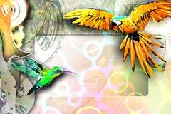 Fondo abstracto con un pájaro ilustración del vector