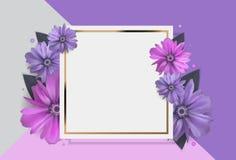 Fondo abstracto de Anemone Flower Realistic Vector Frame Fotografía de archivo libre de regalías