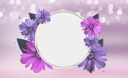 Fondo abstracto de Anemone Flower Realistic Vector Frame Imágenes de archivo libres de regalías