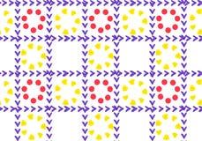 Fondo abstracto de flores amarillas y rojas en un mosaico de la jaula stock de ilustración