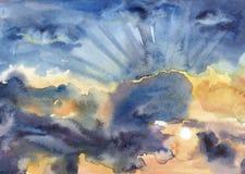 Fondo abstracto de la acuarela Cielo de la puesta del sol con las nubes Fotografía de archivo libre de regalías