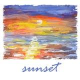 Fondo abstracto de la acuarela con puesta del sol del mar Fotografía de archivo libre de regalías