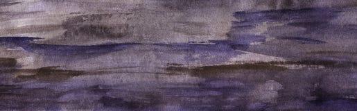 Fondo abstracto de la acuarela pinceladas Gris-violetas en el papel con una textura granosa Ejemplo a mano de la acuarela fotos de archivo libres de regalías