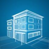 Fondo abstracto de la arquitectura 3d Wireframe del edificio Fotografía de archivo
