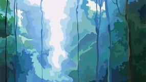 Fondo abstracto de la cascada de la naturaleza en bosque denso ilustración del vector