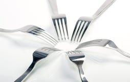 Fondo abstracto de la fork como concepto del alimento Fotografía de archivo