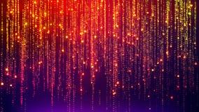 Fondo abstracto de la lluvia de Digitaces, con las partículas que brillan que caen de la animación como lluvia festiva ilustración del vector