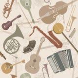 Fondo abstracto de la música Instrumentos musicales de la textura inconsútil libre illustration