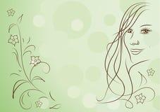 Fondo abstracto de la muchacha de la belleza y del resorte de las flores Imágenes de archivo libres de regalías