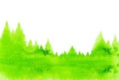 Fondo abstracto de la naturaleza del paisaje de la acuarela con el árbol de abeto Fotos de archivo libres de regalías