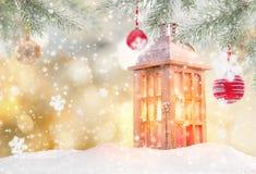 Fondo abstracto de la Navidad con la linterna libre illustration