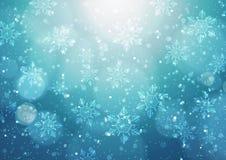 Fondo abstracto de la Navidad con los copos de nieve Imagen de archivo