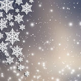 Fondo abstracto de la Navidad con los copos de nieve Foto de archivo libre de regalías