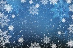 Fondo abstracto de la Navidad con los copos de nieve Foto de archivo
