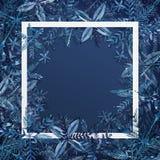 Fondo abstracto de la Navidad con los copos de nieve en fondo del papel azul Tarjeta de la Feliz Navidad de la acuarela Vacacione stock de ilustración