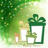 Fondo abstracto de la Navidad con los regalos de la Navidad Imagen de archivo libre de regalías