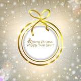 Fondo abstracto de la Navidad de la bola de la Navidad con el arco Fotografía de archivo libre de regalías