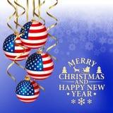Fondo abstracto de la Navidad del vector con los elementos patrióticos Fotografía de archivo libre de regalías
