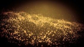 Fondo abstracto de la onda del oro de la partícula chispas que brillan intensamente onduladas 3D ilustración del vector
