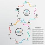 Fondo abstracto de la plantilla del diseño con las ruedas de engranaje e infogra Fotos de archivo