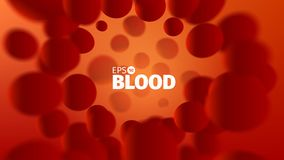 Fondo abstracto de la sangre del vector Ejemplo de la ciencia Opinión del microscopio Corriente de las células stock de ilustración