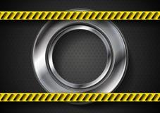 Fondo abstracto de la tecnología con la cinta del peligro Fotos de archivo