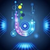 Fondo abstracto de la tecnología con los diversos elementos tecnológicos Fotos de archivo