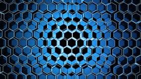 Fondo abstracto de la tecnología con muchos hexágonos coloreados y luz Foto de archivo libre de regalías