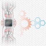Fondo abstracto de la tecnología; Microprocesador electrónico conectado en la tarjeta de circuitos