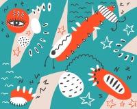 Fondo abstracto de la turquesa con los elementos rojos ilustración del vector