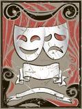 Fondo abstracto de la vendimia con las máscaras del teatro Fotos de archivo libres de regalías