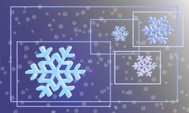 Fondo abstracto de las vacaciones de invierno con los copos de nieve Imagen de archivo