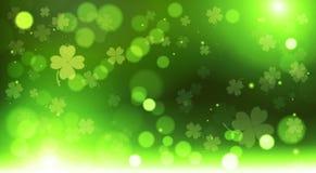 Fondo abstracto de los tréboles de la plantilla de la falta de definición de Bokeh, santo feliz verde Patrick Day Concept stock de ilustración