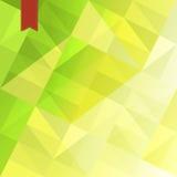 Fondo abstracto de los triángulos verdes con la etiqueta roja. Foto de archivo libre de regalías