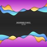 Fondo abstracto de ondas multicoloras Ondas planas Bandera del vector Uso con las sombras Diseño moderno Fondo, templat Imágenes de archivo libres de regalías