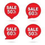 Fondo abstracto de papel rojo de la bandera del círculo de la venta Uso para la etiqueta, etiquetas engomadas del descuento, prom libre illustration