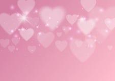 Fondo abstracto del amor con los corazones y las luces Imagenes de archivo