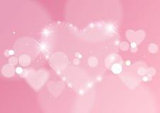 Fondo abstracto del amor con los corazones y las luces de Bokeh Foto de archivo libre de regalías