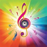 Fondo abstracto del arco iris con clave del violín Imagenes de archivo