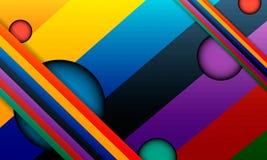 Fondo abstracto del arco iris con los círculos tallados y las tiras de intersección Fotos de archivo libres de regalías