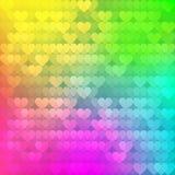 Fondo abstracto del arco iris de corazones Foto de archivo libre de regalías