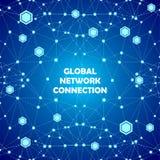 Fondo abstracto del azul de las conexiones de red global Imagen de archivo