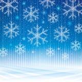 Fondo abstracto del azul de los copos de nieve Imagen de archivo libre de regalías