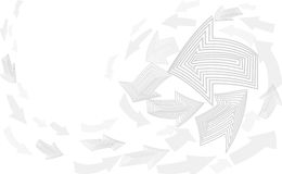 Fondo abstracto del blanco gris Movimiento del indicador de flecha encima de la plantilla neutral Vector de la cubierta del conce Foto de archivo libre de regalías