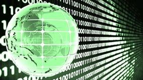 Fondo abstracto del código binario con la rotación del vidrio del globo Loopable Verde metrajes