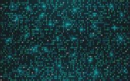 Fondo abstracto del código binario Concepto de los datos de Digitaces Dígitos que fluyen brillantes con las luces en el contexto  stock de ilustración