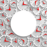 Fondo abstracto del cartel de la maqueta del tiempo, reloj análogo 3D con el marco Fotografía de archivo libre de regalías