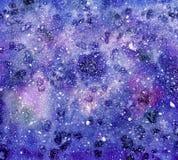 Fondo abstracto del cielo nocturno de la acuarela Imagenes de archivo