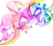Fondo abstracto del color con la onda y las hojas ilustración del vector