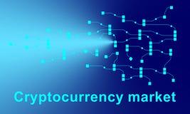Fondo abstracto del concepto del blockchain del establecimiento de una red del circuito ilustración del vector